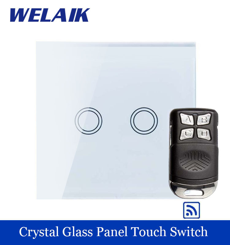 WELAIK Glass Panel Switch White Wall Switch EU remote control Touch Switch  Light Switch 2gang1way AC110~250V A1923XW/BR01 smart home us au wall touch switch white crystal glass panel 1 gang 1 way power light wall touch switch used for led waterproof