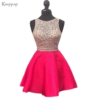 Sparkly Short Homecoming Dress 2017 Cute Hot Pink Top Beaded Sweet 16 Backless 8th Grade Prom