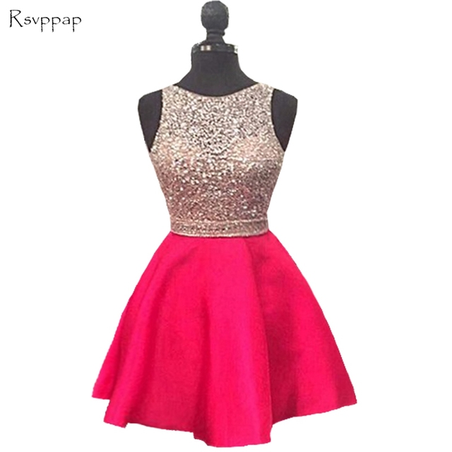 936f6171 Sparkly Short Homecoming Dress 2018 Cute Hot Pink Top Beaded Sweet 16  Backless 8th Grade Prom Dresses
