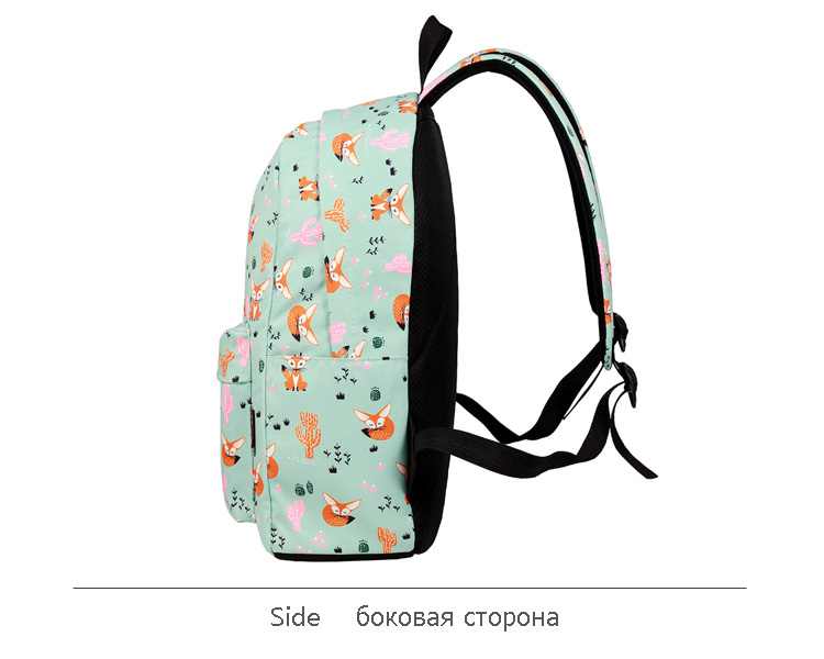 WINNER Fox Pattern Printing Backpack Female Travel Daily Laptop Student School Backpack Water  Repellent For Teenagers Mochila 2018 (8)