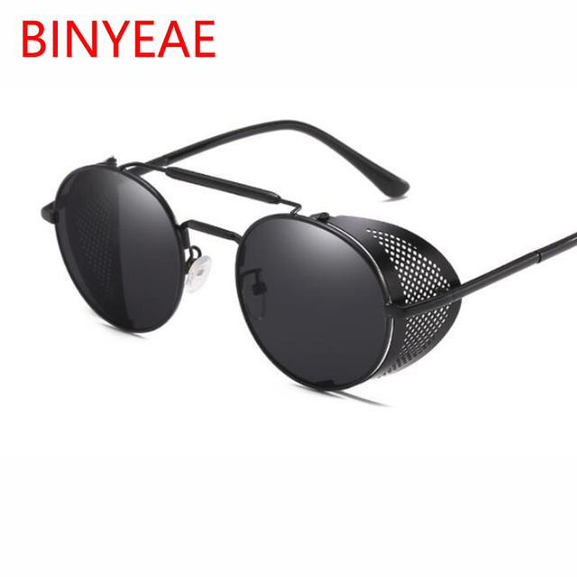 a1823abf6b Metal Frame Side Shield Hipster men Round Sunglasses Vintage Gothic Hippie Circle  Retro Steampunk sunglasses women oversized