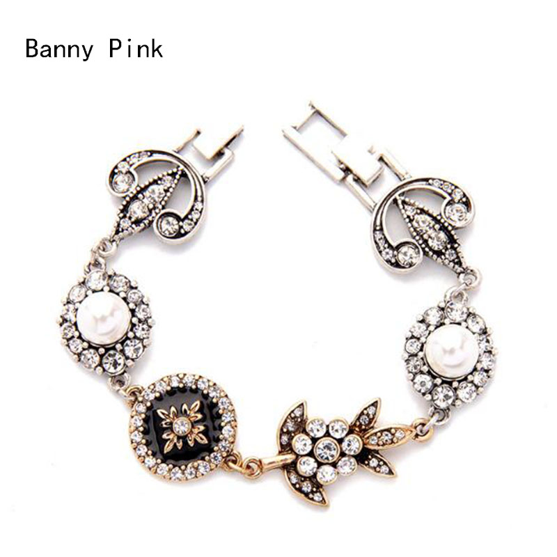 Vintage Rhinestone Metal Charms Bracelet Bangle For Women Chunky Alloy Statement Chain Bracelet Bangle Fashion Jewelry Pulseras