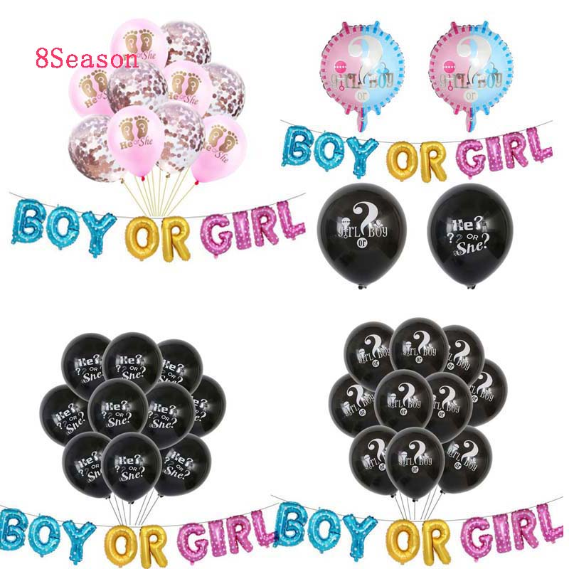 8SEASON Gender Revealing Boy Or Girl Foil Balloon Baby Shower Balloons Rose Gold Party Decorations 1 Year Birthday Accessories in Party DIY Decorations from Home Garden