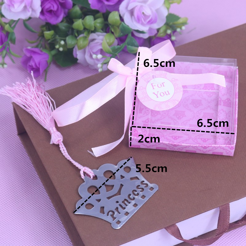 10PCS Exquisite Princess Crown Bookmarks For Kids Baby Shower Souvenirs Birthday Wedding Favors Birthday Graduation Gifts