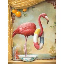 Full Square Diamond 5D DIY Painting Cartoon Flamingo 3D Embroidery Cross Stitch Mosaic Home Decor