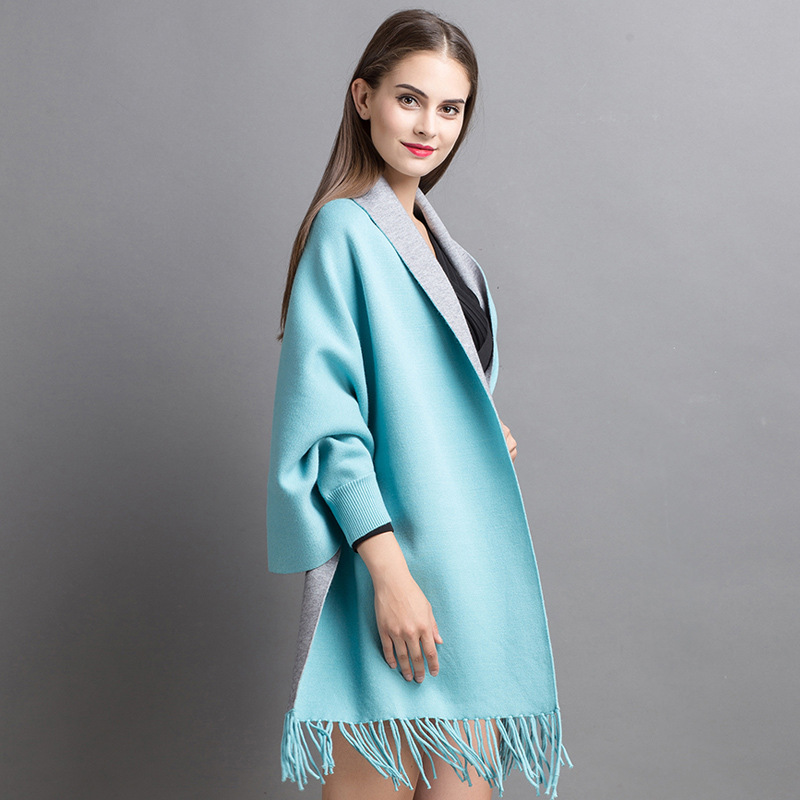 A1818  Top Grade New Fashion Women's Coats Autumn and Winter Knitting Sweaters Medium and long Tassel Cloak Shawls