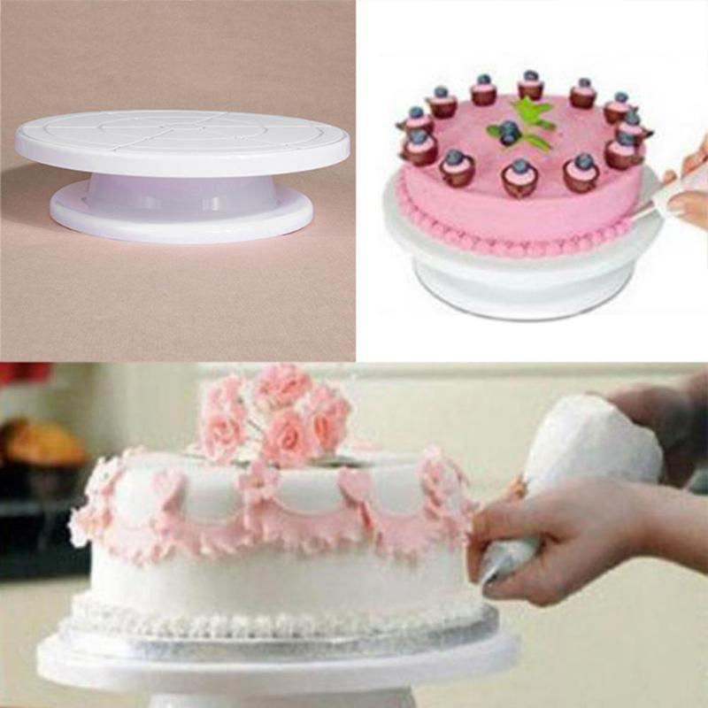 27cm Plastic Cake Turntable Rotating Cake Decorating Tools Anti-skid Round Cake Stand Rotary Swivel Plate Revolving Baking Tools