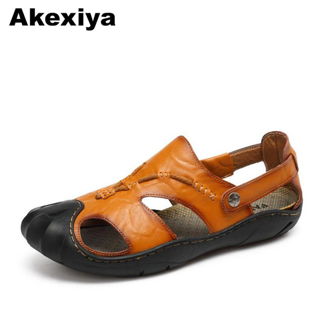 bbb82411742f8a Akexiya 2018 New Summer Men s Sandals Genuine Leather Casual Shoes  Breathable Beach Shoes Slip Outdoor Sandals