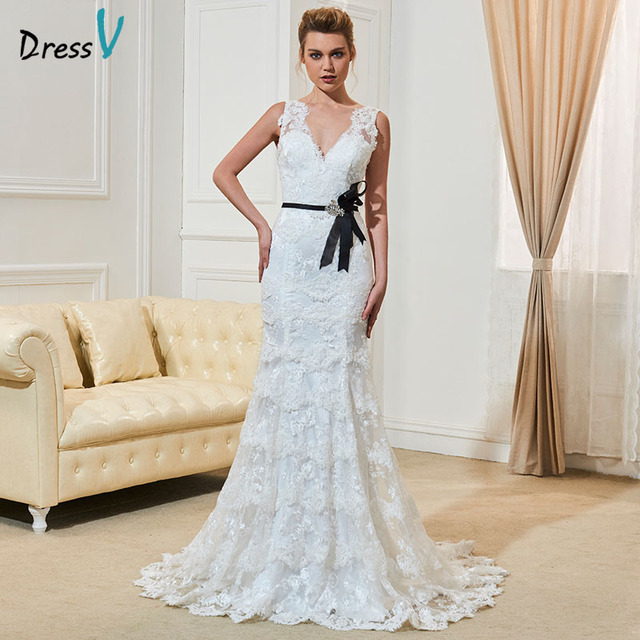 Dressv Y Backless Lace Wedding Dress Ivory V Neck Court Train Simple Mermaid Long