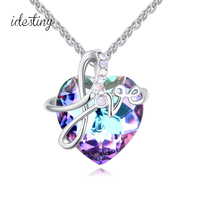 New Heart Necklace Pendant Made With Austria Crystal High Quality White Gold Color Lover Letter Design