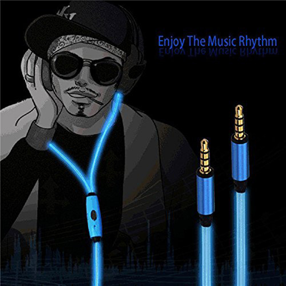 1M Sport Glow In The Dark Stereo Blocking LED Flash Light Earphone Earbud Headset Built in microphone for Xiaomi for Samsung ...