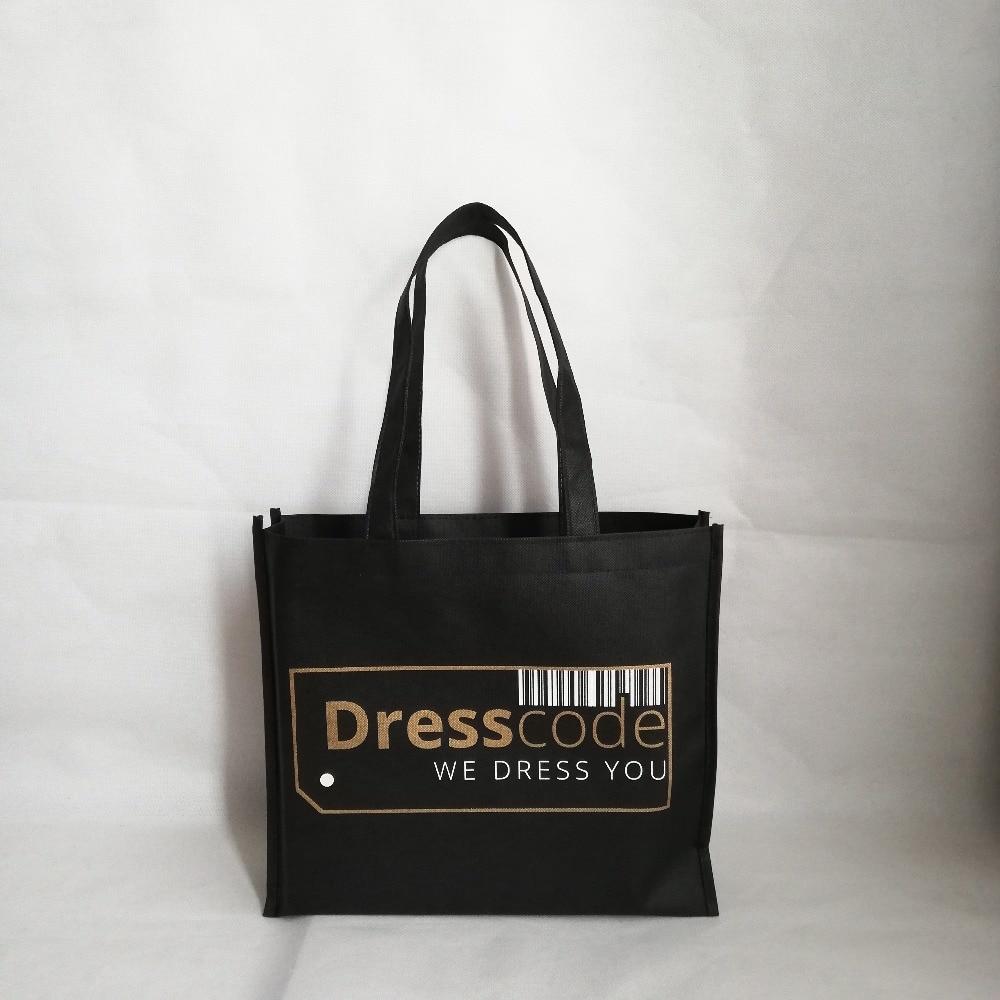 En gros 500 pcs/lot sac fourre tout personnalisé Non tissé sacs avec Logo sacs à provisions réutilisables avec poignées épaules sacs pour mariage-in Shopping Sacs from Baggages et sacs    1