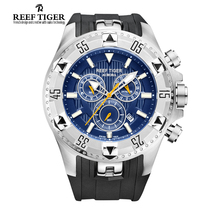 Arrecife Tigre/RT Hombres Casual Relojes de Cuarzo con Cronógrafo y Fecha Dial Grande Súper Luminoso Reloj Deportivo de Acero RGA303