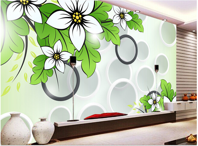 Custom 3D wallpaper, flowers and circles for the living room bedroom TV background wall vinyl papel de parede custom 3d wallpaper pink rose and butterfly mural for the living room bedroom tv background wall vinyl papel de parede