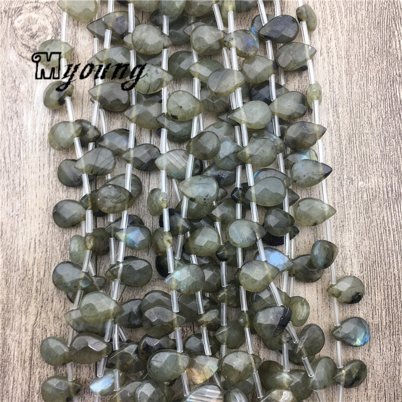 12 8mm Water Drop Labradorite Druzy Beads Wholesale Glowing Gem Stone Quartz Jewelry DIY Findings MY1716