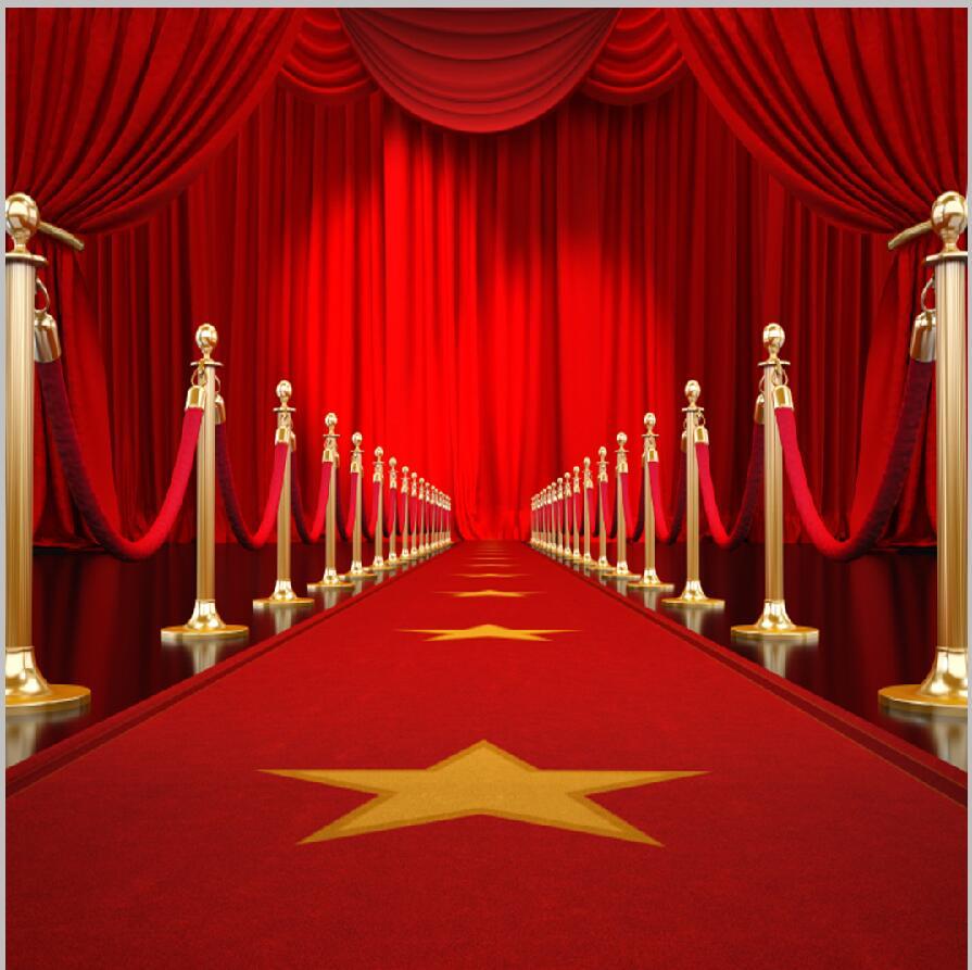 8x8ft Hollywood Red Carpet Entrance Curtain Drape Rail