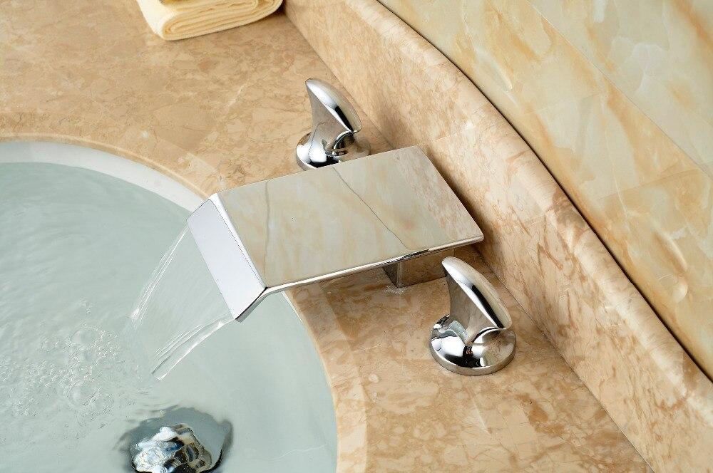 Square Waterfall Bathroom Basin Faucet Double Handles Vanity Sink Mixer Tap 3 Holes modern chrome brass bathroom basin faucet 2 handles 3 holes vanity mixer tap
