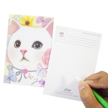 цена на 1pc/lot Kawaii Cartoon Cat Postcard Birthday Card Greeting Card Gift Message Cards Fashion Cute Gifts New Year Christmas Card