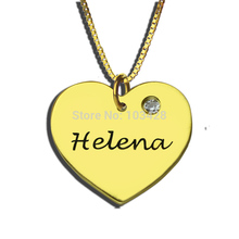 Gold Color Engraved Heart Birthstone Necklace Personalized Heart Name Pendant You are My Sweet Heart Necklace Memorial Jewelry