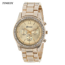 Women Watches 2017 Faux Stylish Chronograph Plated Crystals Quartz Watch Ladies Watches Women Wristwatch Relogio Feminino #60