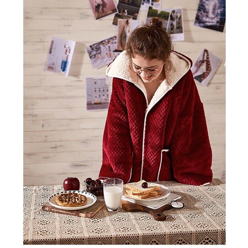 Conjuntos de pijama de flanela feminina de manga comprida calças terno quente coral veludo feminino terno sólido inverno moda com capuz pijamas - 2