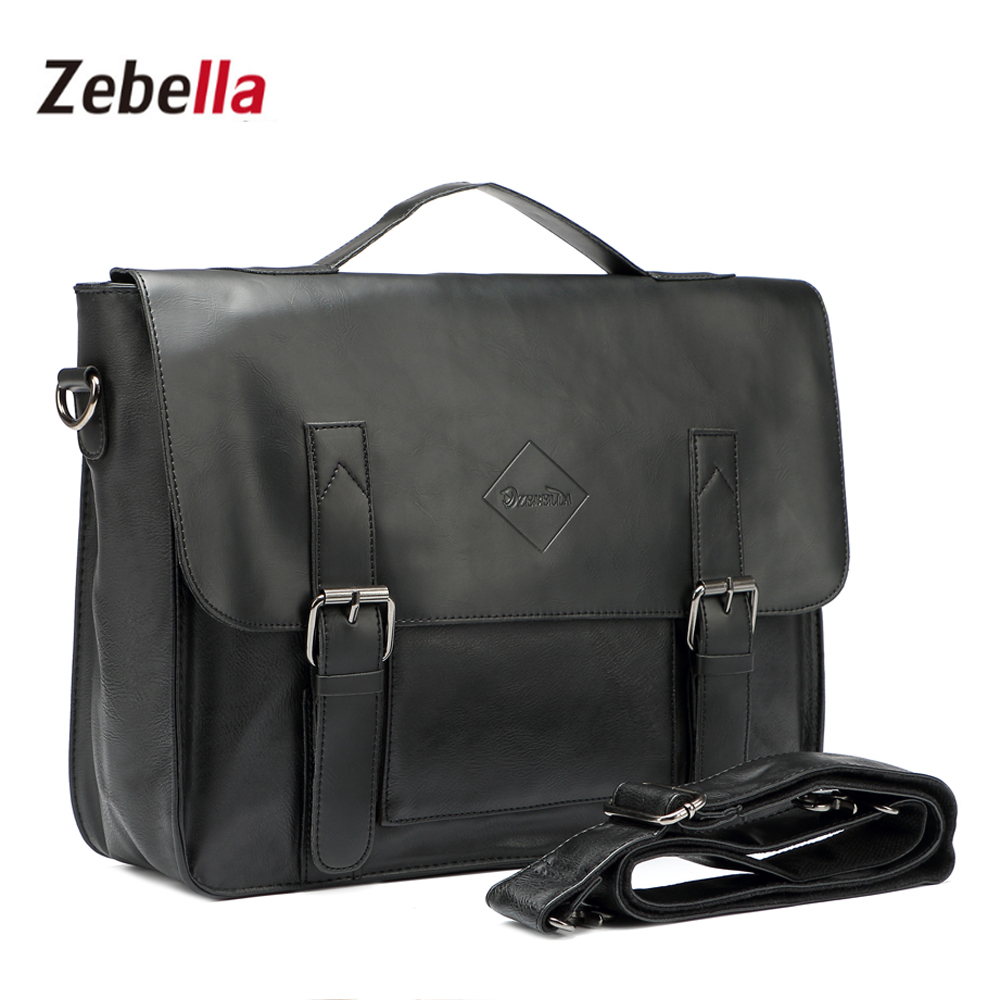 Zebela Men Briefcasel Black Vintage Leather Men Messenger Bags Male Business Office Bag Lawyer Office Travel  Handbag