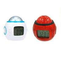 音楽星空カレンダーデジタル時計led投影カレンダーナイトライトでライトカラー変更可能用家の装