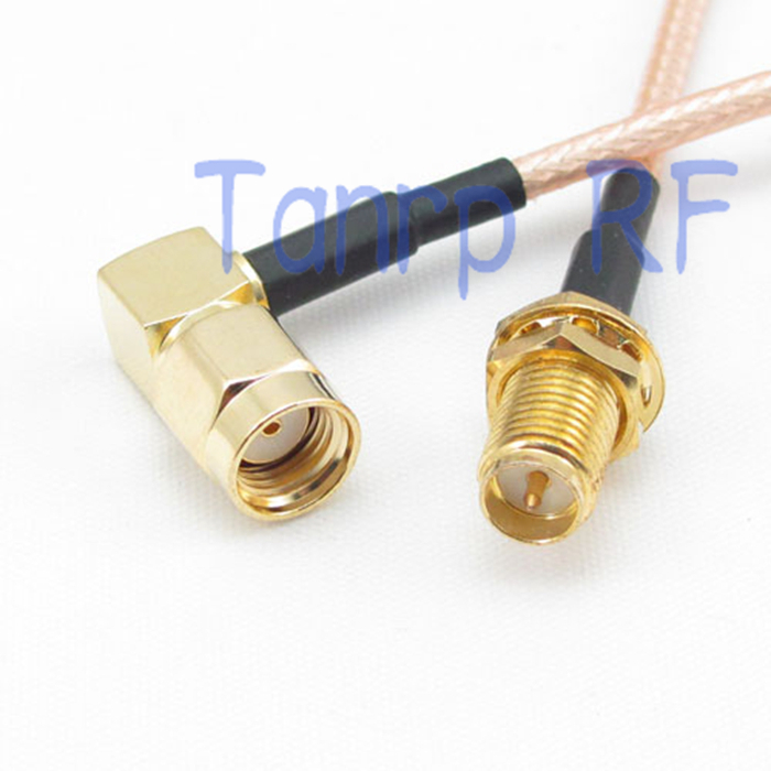 2PCS 20INCH RP SMA female to RP SMA male right angle RF adapter connector 50CM Pigtail coax jumper cable RG316 extension cable