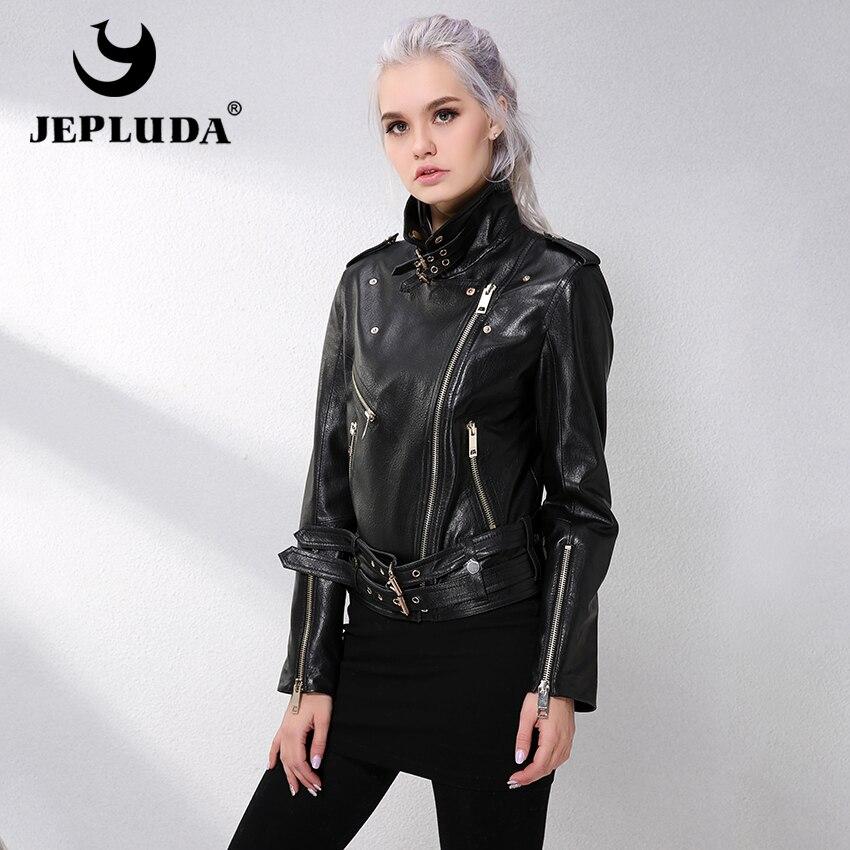 Réel D'agneau Moto Femmes Cuir Jepluda En Véritable Peau Nouvelles Noir Veste Slanted Zipper De Mouton Manteaux 6WfqfOgAz