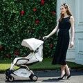 Couro de luxo carrinho de bebê pode sentar mentira luz carrinho de bebê em inverno e verão e quatro redondos bebê portátil guarda-chuva dobrável bebê transporte