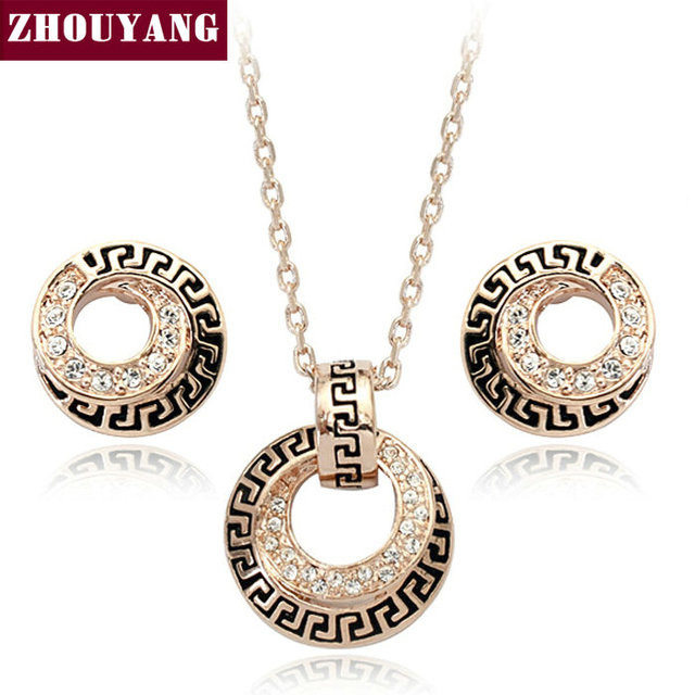 Top Quality ZYS048 Rose Gold Color Elegant Wedding Jewelry Necklace Earrings Set Made with Austrian Crystals Wholesale