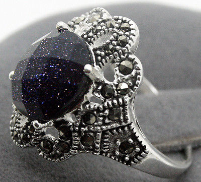 Hot sell Noble- FREE SHIPPING>>>@@ 17x22MM Blue Sandstone Oval Gem 925 Sterling Silver Marcasite Ring Size 7/8/9/10 hot sell new free shipping 925 sterling silver soldier boluomiduo theheart sutra scripture ring mens