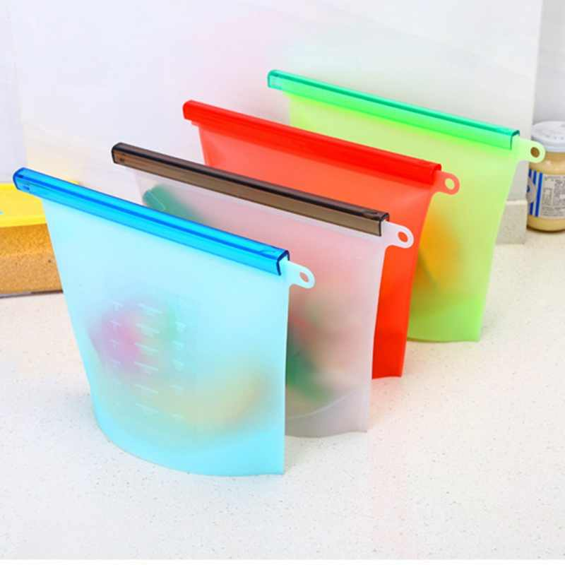 COCODE Reusable Silicone Vacuum Seal Food Fresh Bag Fruit Meat Milk Storage Container Refrigerator Bag Ziplock Kitchen Organizer