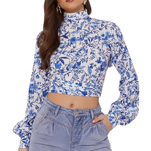 New Blouses Woman 2019 Chiffon Ruffled Women's Printed Halter Top Long Sleeve Women Tops Vadim  See Through Top Women Sexy Shirt flower embroidered long sleeve ruffled top