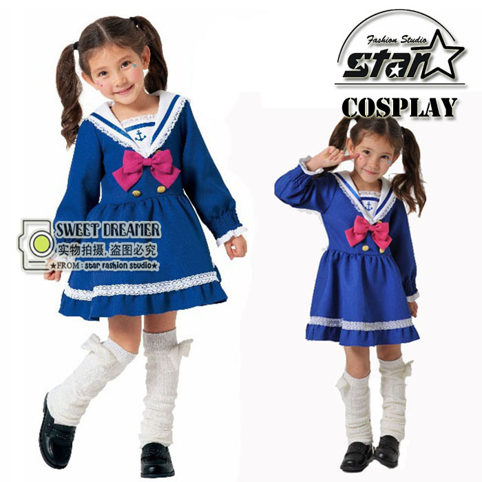 Japanese Preppy Style Kids Girl Sailor Moon Cosplay Bowknot Dress Kawaii Lolita Uniform Children Halloween Party Navy Lace Dress free shipping hot heat resistant party hair new wig silver white sailor moon tsukino usagi cosplay party wigs