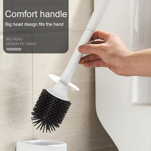Escova de toalete de silicone com cerdas macias banheiro vaso sanitário tigela escova e suporte conjunto construído de borracha termoplástica durável