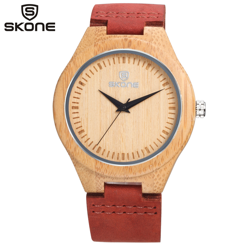 SKONE Men's Wood Cover Wooden Case Watch Men Quartz Watches Fashion Casual Leather Band Male Wristwatches Montre Homme 9435G fashion cool punk rock design men quartz wooden watch modern black genuine leather watchband unique wood watches gift for male