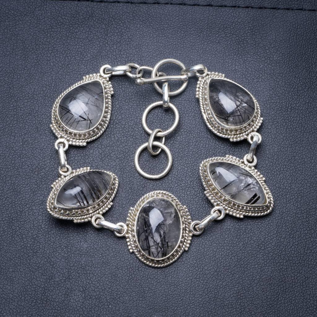 Natural Tourmalinated Quartz Handmade Unique 925 Sterling Silver Bracelet 6 3/4-7 3/4