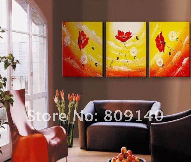 Free Shipping Yellow Red White Oil Painting Canvas