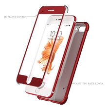 FLOVEME 360 Degree Case For iPhone 7 Case iPhone 6s 6 Cases PC Silicone Full Coverage Protector Cover For iPhone 7 6 Plus Coque