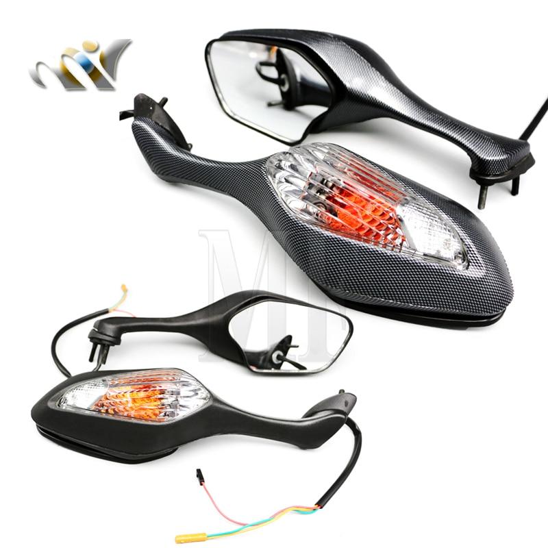 Для 2008-2013 Honda CBR1000RR CBR 1000RR 2010-2012 VFR1200 VFR 1200 пара мотоциклетных боковых зеркал заднего вида со светодиодной подсветкой и указателем поворота чер...