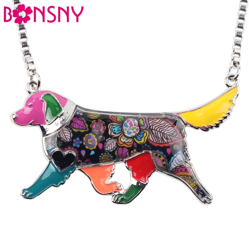 Bonsny Statement Alloy Enamel Golden Retriever Hund Choker Halsband Kedja Hängsmycke Collar 2017 Mode Nya Emalj Smycken Kvinnor