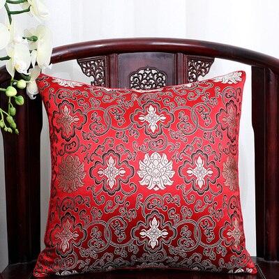 Винтажная квадратная большая подушка для дивана, стула, автомобиля, Высококачественная декоративная шелковая парчовая Подушка для спины 40x40 43x43 40x50 50x50 60x60 см - Цвет: Бургундия