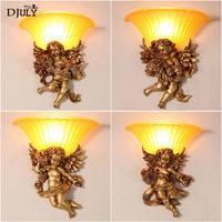 Europe Five angels retro resin glass wall lamp for villa hotel dining room aisle stairs wall sconces light loft decor luminaire