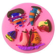 3D Pirate Ship Silicone Mold Cake Fimo Soap Decorating Tools Candy Lace Fondant Muffin SK060251