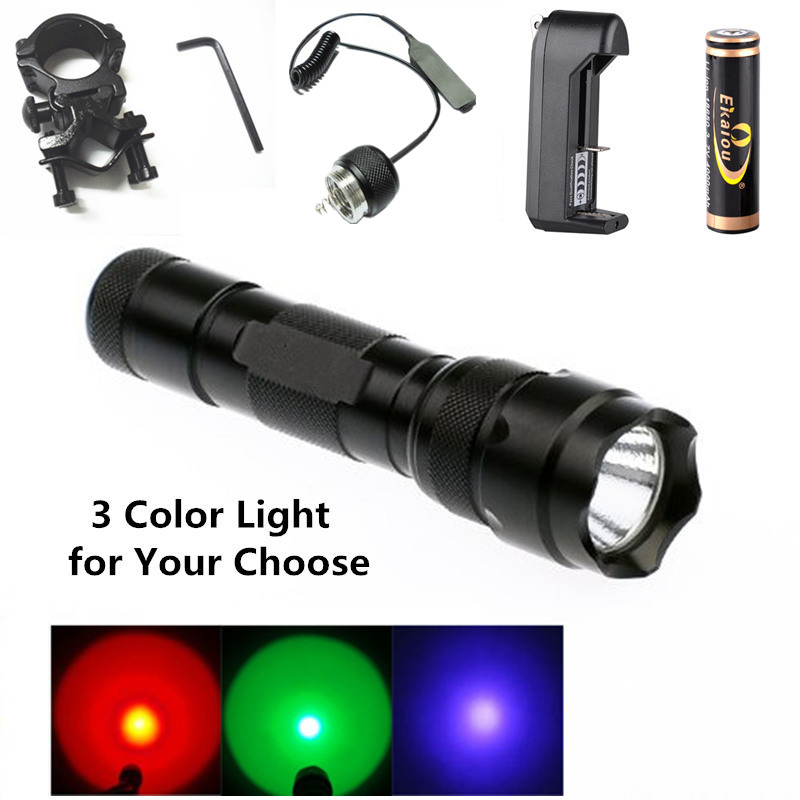 Green/Purple/Red Light 502B LED Flashlight Torch Lamp linternas lanterna+Battery+Charger+Mounts+Tactical Remote Switch hot sale q5 red led flashlight torch light tactical lanterna 18650 flash light linternas rat tail switch for hungting