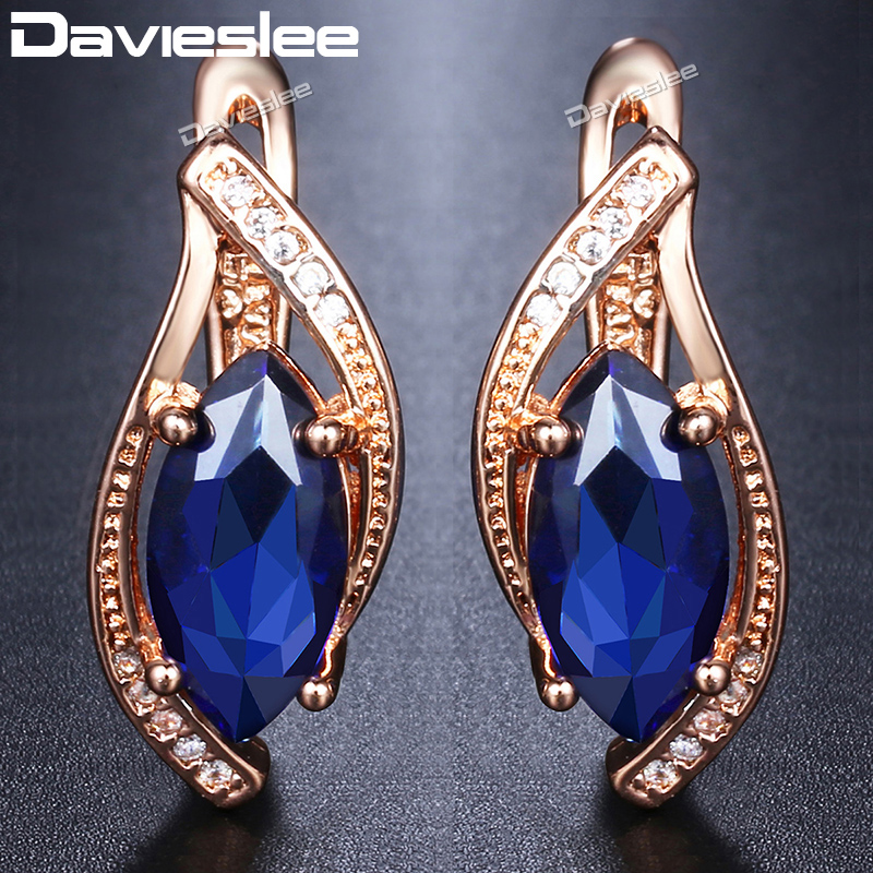 Davieslee Blue Stone Stud Earrings For Women 585 Rose Gold Filled Leaf Shaped Round Womens Earring Fashion Jewelry Gift DGE136Davieslee Blue Stone Stud Earrings For Women 585 Rose Gold Filled Leaf Shaped Round Womens Earring Fashion Jewelry Gift DGE136
