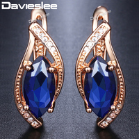 9f8cc27c6 Davieslee Blue Stone Stud Earrings For Women 585 Rose Gold Filled Leaf  Shaped Round Womens Earring