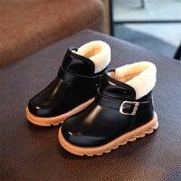 2017 invierno Niño niños del algodón del bebé de la marca moda pu cuero Botas Kid negro botín caliente