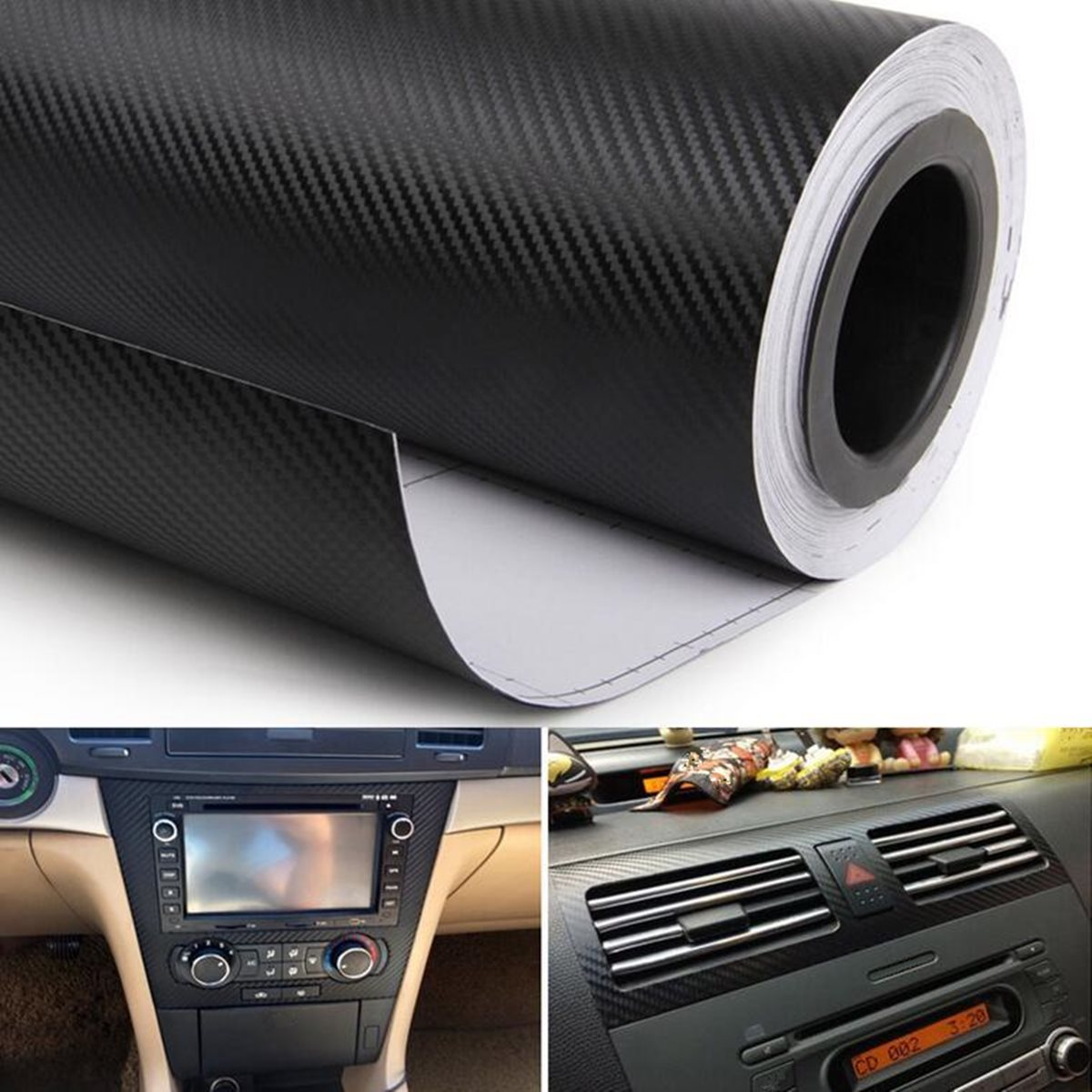 цена на 38cm x 100cm Car Styling Sticker Glossy Black Carbon Fiber Vinyl Wrap Film DIY Car Decorative For Motorcycle Motor Car Truck